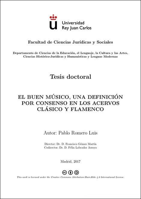 Tesis doctoral de Pablo Romero Luis. El buen músico, una definición por consenso en los acervos clásico y flamenco.