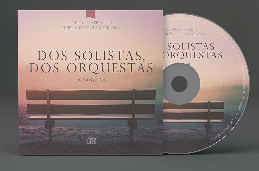 CD Dos solistas, dos orquestas. Un disco de piano y guitarra de Pablo Romero Luis y Margarita Rula Kaminska.
