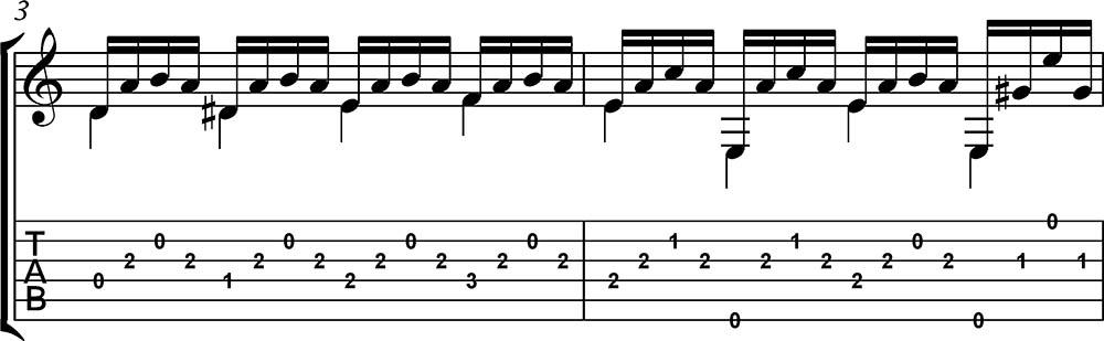 Partitura y tablatura de Estudio 7 Carcassi 2