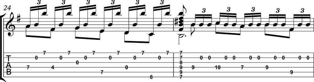 Imagen de la partitura y tablatura del tutorial de Asturias de Albéniz (tercera parte) a