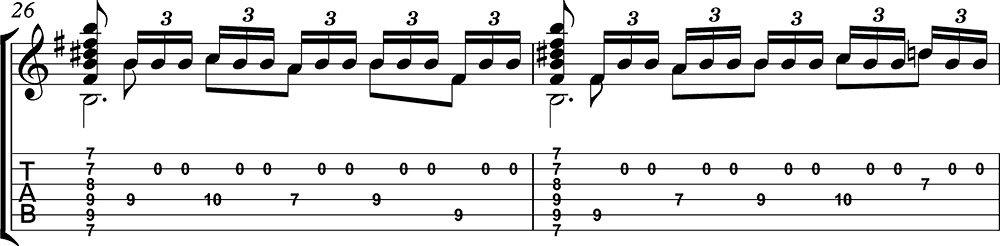 Imagen de la partitura y tablatura del tutorial de Asturias de Albéniz (tercera parte) b