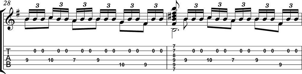 Imagen de la partitura y tablatura del tutorial de Asturias de Albéniz (tercera parte) c