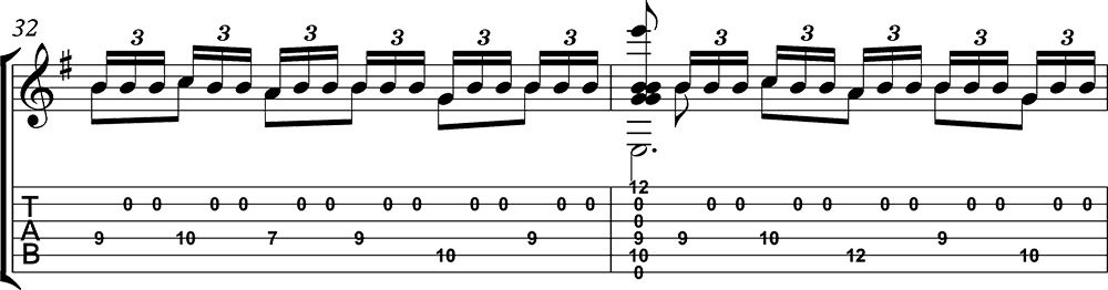 Imagen de la partitura y tablatura del tutorial de Asturias de Albéniz (tercera parte) e
