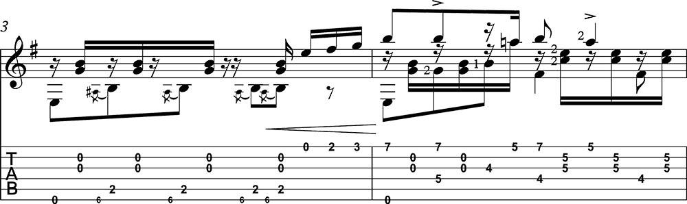 Partitura y tablatura de Danza 5 Andaluza de Enrique Granados para guitarra. Pentagrama 2