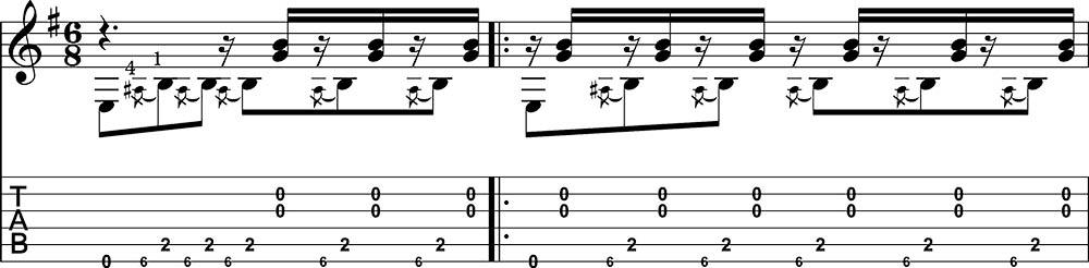 Partitura y tablatura de Danza 5 Andaluza de Enrique Granados para guitarra. Pentagrama 1