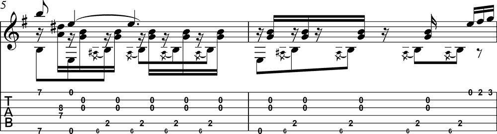 Partitura y tablatura de Danza 5 Andaluza de Enrique Granados para guitarra. Pentagrama 3