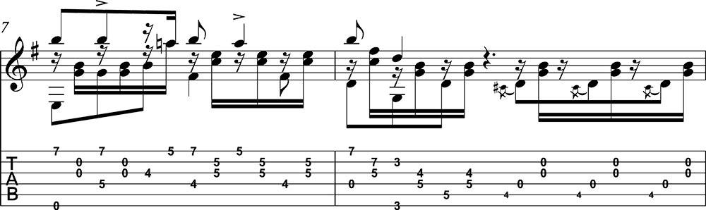 Partitura y tablatura de Danza 5 Andaluza de Enrique Granados para guitarra. Pentagrama 4