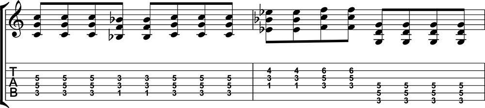 Ejercicio de quintas en guitarra difícil
