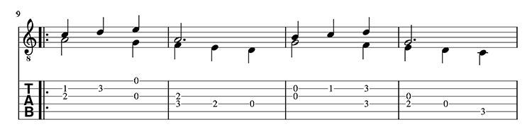 Minueto a dos voces guitarra