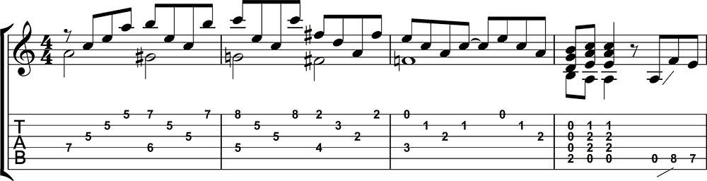 Partitura y tablatura de Stairway to heaven 1