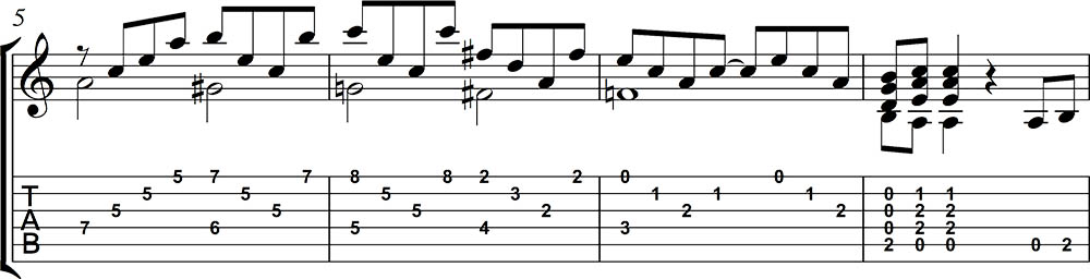Partitura y tablatura de Stairway to heaven 2