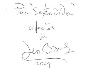 Dedicatoria de Leo Brower a Sexto Orden