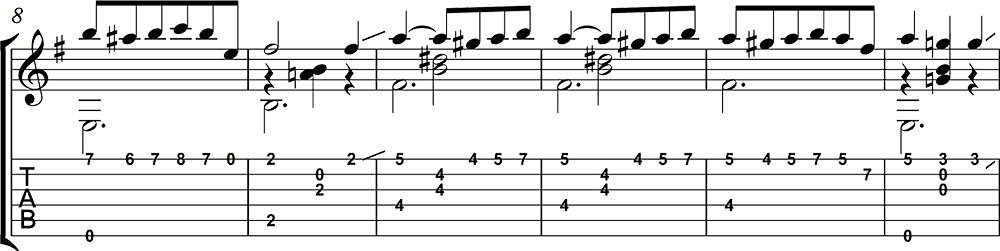 Partitura y Tablatura de Mi favorita 2