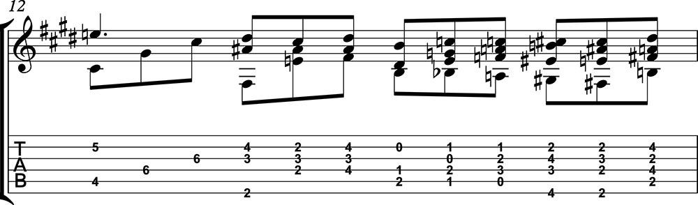 Nocturno 2 op9 de chopin para guitarra. Guitarristas del futuro. partitura 1/7