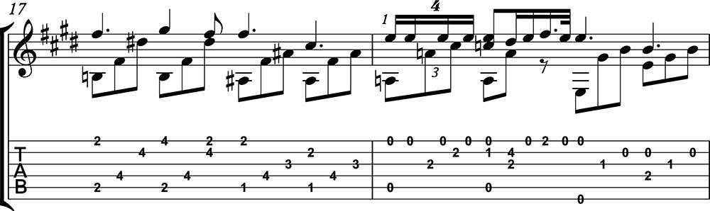 Nocturno 2 op9 de chopin para guitarra. Guitarristas del futuro. partitura 6/7