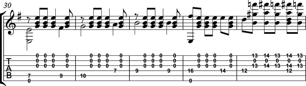 Imagen de la partitura de preludio 1 de villalbos clase 2 de guitarristas del futuro. a