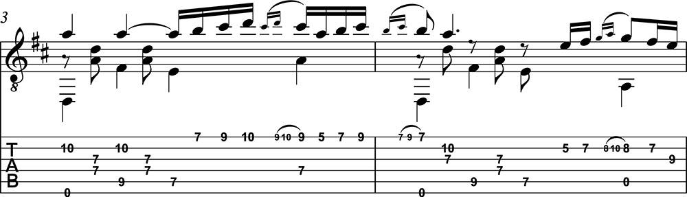 Partitura y tablatura de Capricho Árabe clase 3. Hoja 1/9. Score and TAB