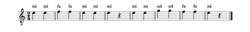 Ejercicio 1. Clase 1 del curso de lectura musical. Traducir la partitura.