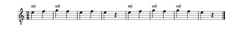 Ejercicio 3. Clase 1 del curso de lectura musical. Traducir la partitura.