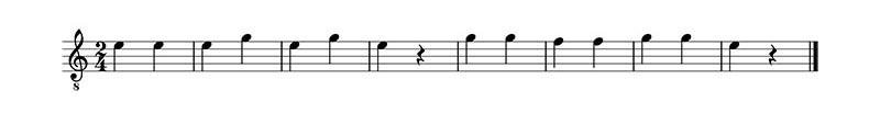 Ejercicio 4. Clase 1 del curso de lectura musical. Traducir la partitura.