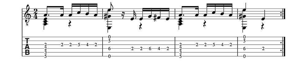 Partitura y Tablatura de Caprice 24 de Paganini. (clase1) Fragmento 1
