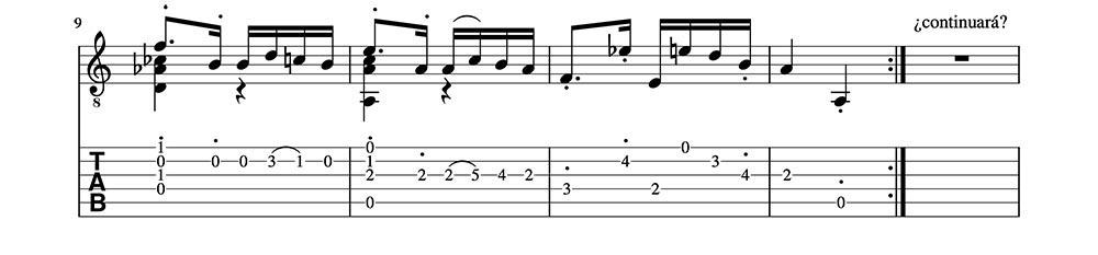 Partitura y Tablatura de Caprice 24 de Paganini. (clase1) Fragmento 3
