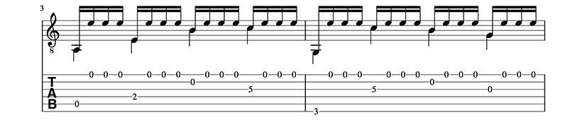 Partitura y Tablatura de Preludio Tristón. Trémolo para guitarra clásica. Pentagrama 2/4.