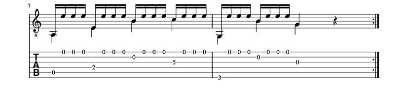 Partitura y Tablatura de Preludio Tristón. Trémolo para guitarra clásica. Pentagrama 4/4.